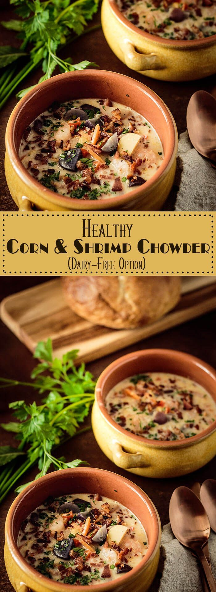A steaming hot bowl of chowder chases away a cold winter's day! This Healthy Corn and Shrimp Chowder comes together quickly, and is chock full of delicious and healthy ingredients... It's gluten-free, and can be made dairy-free as well! gluten-free / dairy-free/ chowder / shrimp chowder / corn chowder / healthy soups and stews via @TamaraBMS