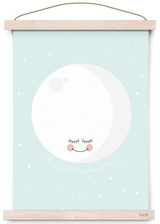 Eef Lillemor poster moon mint 29.7 x 42 cm