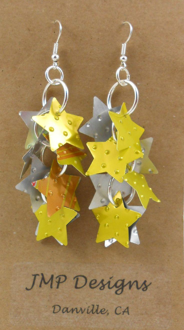 STAR STUFF Earrings.  Recycled Soda Can Art.   Peter Pan. $9.95, via Etsy.