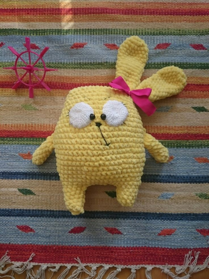 Crochet funny rabbit. About 25 cm.