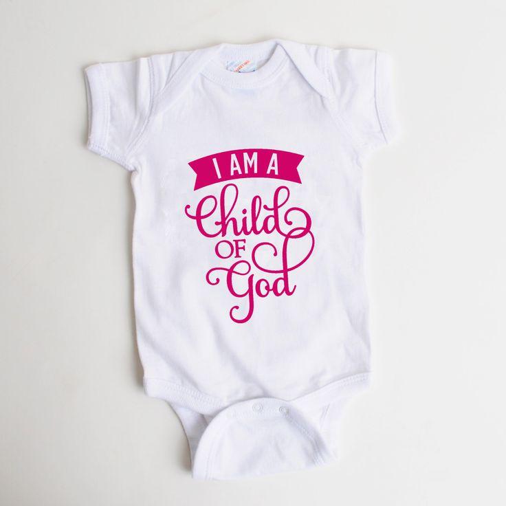 Baby Girl Onesie - Pink Baby Onesie - I am a child of God - Newborn Baby Girl Gift by JoyfulMoose on Etsy https://www.etsy.com/listing/256577330/baby-girl-onesie-pink-baby-onesie-i-am-a