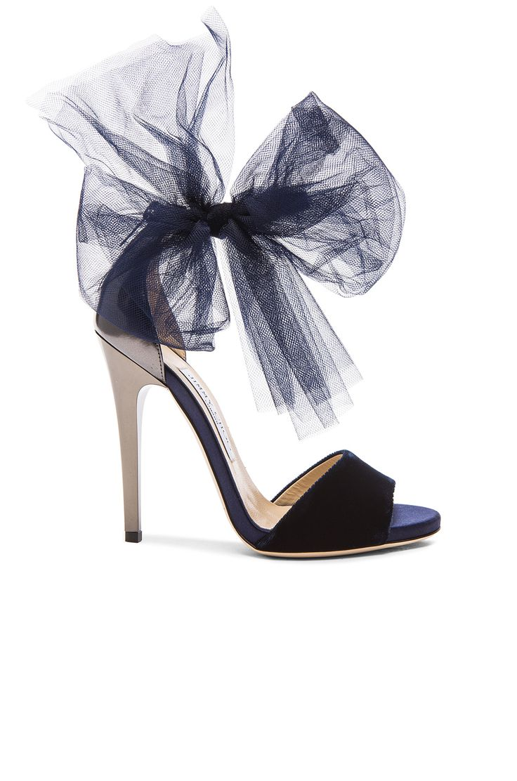 Jimmy Choo Lilyth Satin and Velvet Heels in Anthracite & Navy | FWRD                                                                                                                                                      Más