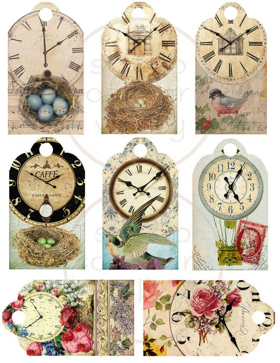 SUMMER TIME - Digital Collage Vintage French Clock Bird Nest Egg 2.2x4 inch Gift…