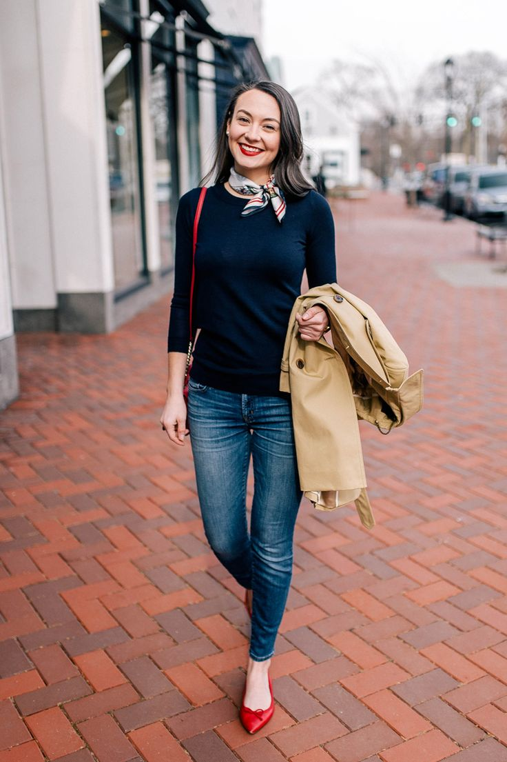Navy sweater, skinnies, red flats, trench, silk scarf.