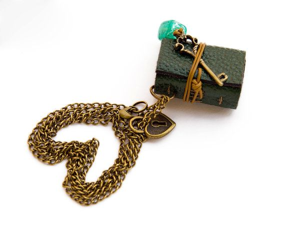 Green Necklace Book, key and lock beaded mini leather journal, tiny novel necklace