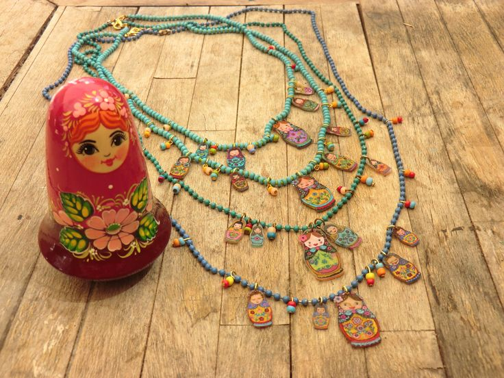 Russian nesting dolls necklaces by Ronit Yehuda Levy
