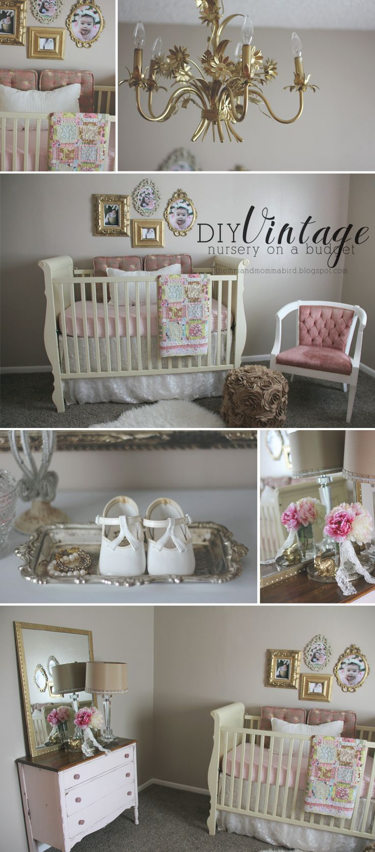DIY Vintage Nursery {on a budget} pink and gold nursery | gold nursery | nursery on a budget | pink nursery | www.themrsandmommabird.blogspot.com