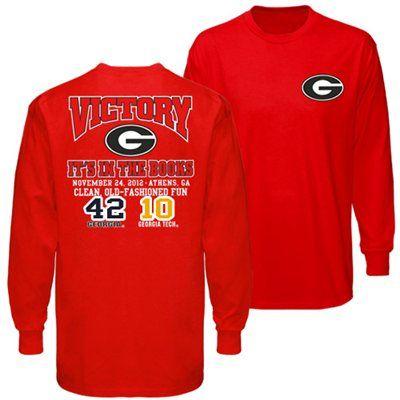 Georgia Bulldogs vs. Georgia Tech Yellow Jackets 2012 Score Long Sleeve T-Shirt - Red