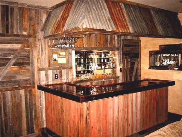 Easy Home Bar - Texas, Western Style Home Bar: Wooden Bar, Corrugated Metal, Rustic Bars, Western Style, Basement Bar, Outdoor Bar, Bar Idea, Home Bars