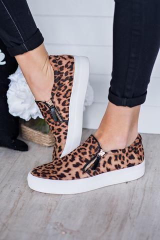Wild Side Leopard Print Side Sneakers (Leopard)