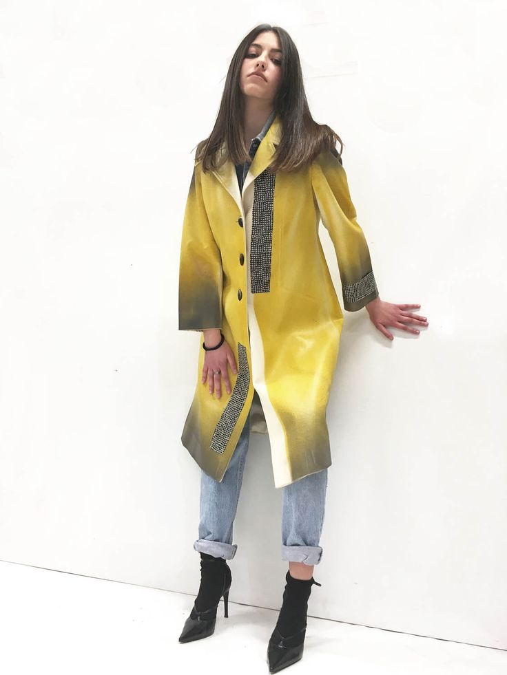Yellow Spring Coat Overcoat Airbrush Hand Painted Skin Effect LOLA DARLING Seventy Vintage Garment Square Glossy Recycled Fabric di loladarlingirl su Etsy