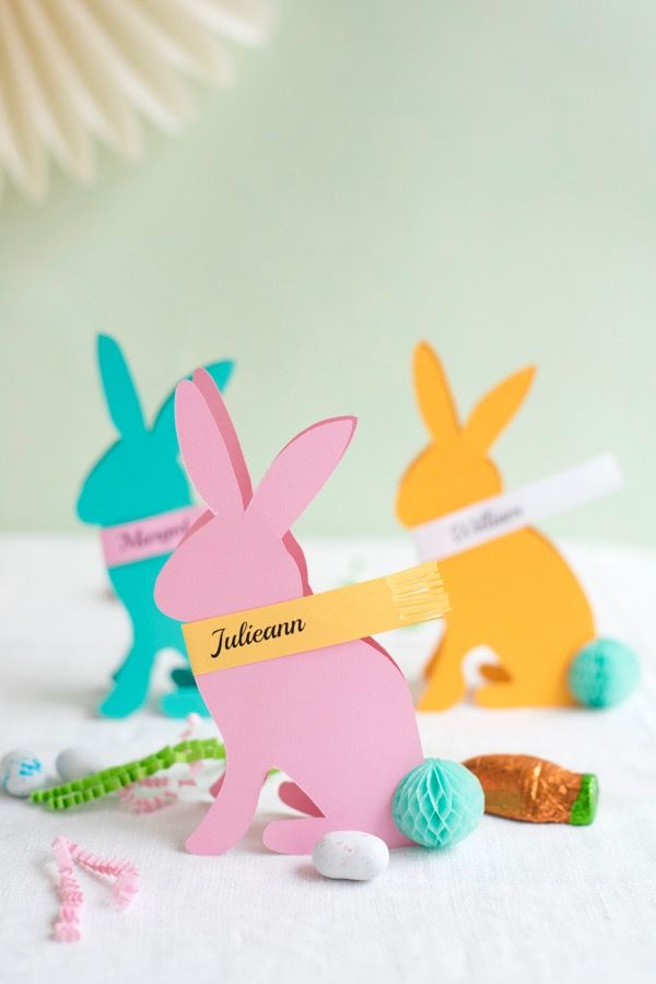 Easter Bunny Place Cards DIY   Oh Happy Day!