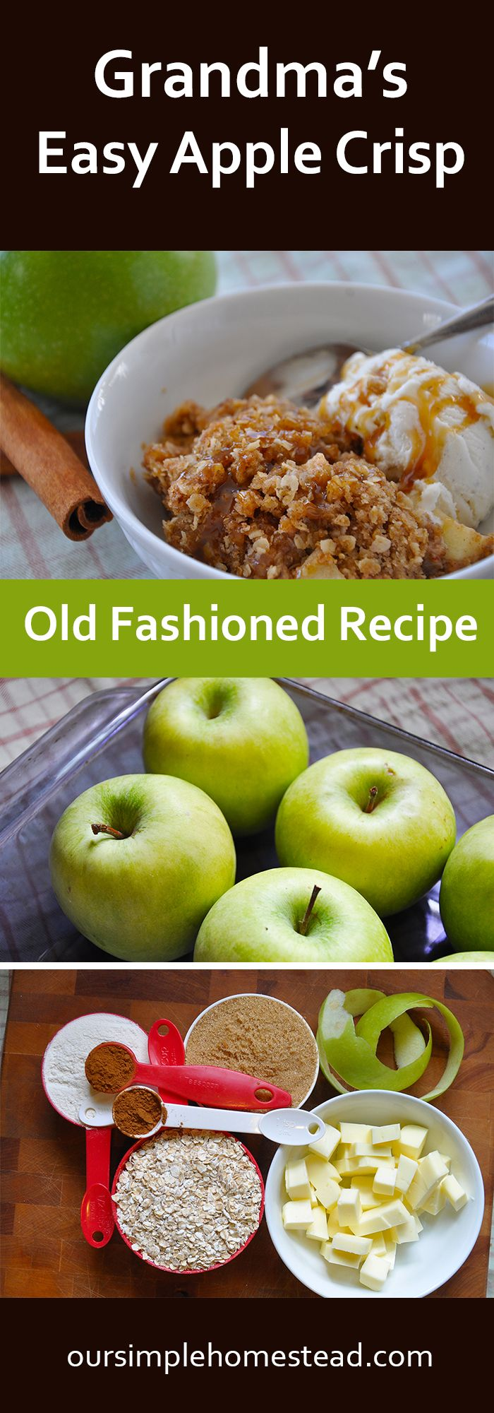 Easy Apple Crisp - Old Fashioned Recipe - Nothing makes a house feel more like a home than the smell of something baking in the oven! With a hint of fall in the air, I spent the day in the kitchen filling my house with a warm cinnamon and apple smell.