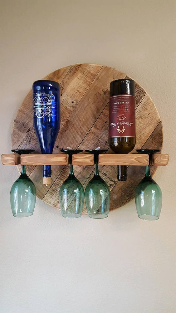 Wine Rack, Wine Bottle, Wine Bottle Holder, Wine Glasses,Reclaimed Pallet Wood Wine Rack, With Glasses. Wine Rack Gift. Wall Hanging Rack.