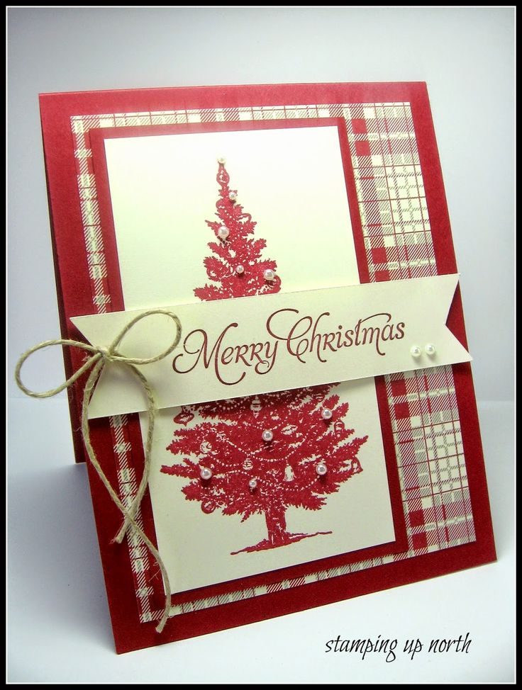 handmade Christams card fron stamping up north: Festive Friday Challenge ... like the plaid paper ... dark red with vanilla and a touch of kraft ... red stamped tree with pearls ... like it!!