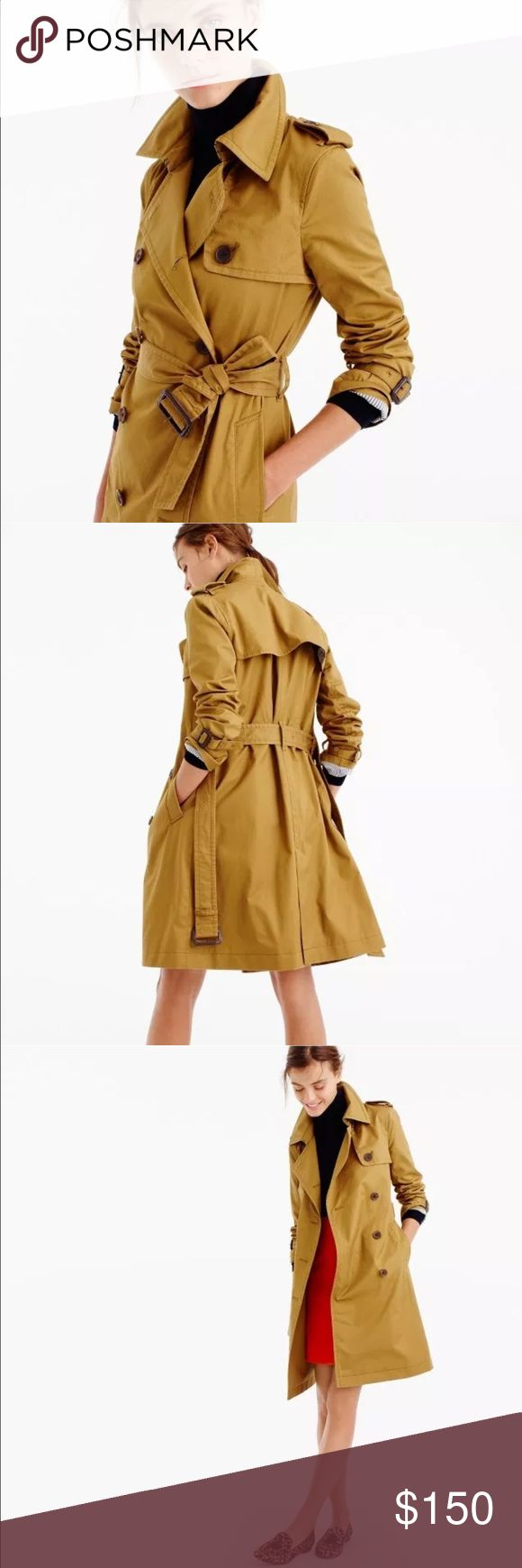 """NWT J. Crew 2016 Petite City Trench Coat size & fit •Tailored for a fitted look. •Body length: 37 1/4"""". •Sleeve length: 30 7/8"""". •Hits above knee.   Product Details  Meet the city trench: Featuring a longer length and more-refined cotton fabric with a slight sheen, it's the perfect transitional layer that looks great over jeans, dresses, pencil skirts...pretty much everything. Oh, and it only gets better year after year. •Cotton. •Notch collar. •Side-entry welt pockets…"""