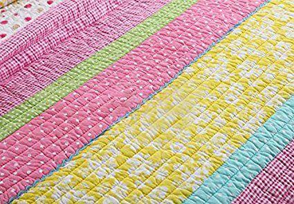 Amazon.com: Best Comforter Set 3 Pieces Bedding Set Pink Dot Striped Floral Bedspread Quilt Sets for Girl Kids Children Cotton: Bedding & Bath