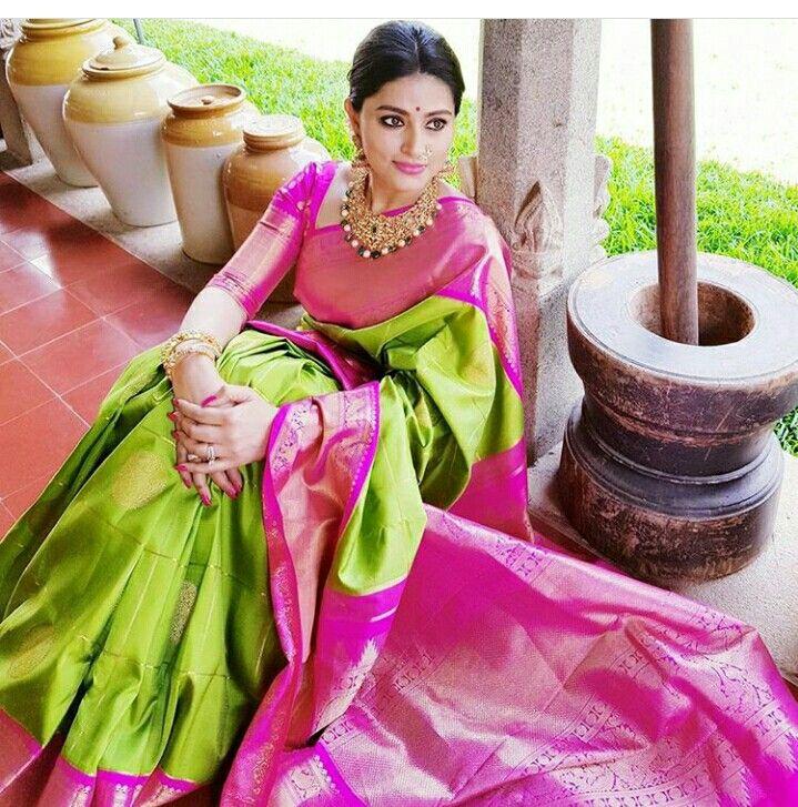 Green and pink combination Kanchipattu saree
