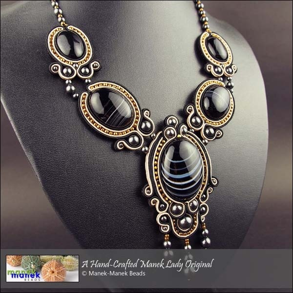 Soutache - Necklace with Black Agate