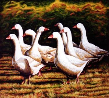Danish goose farm in autumn time
