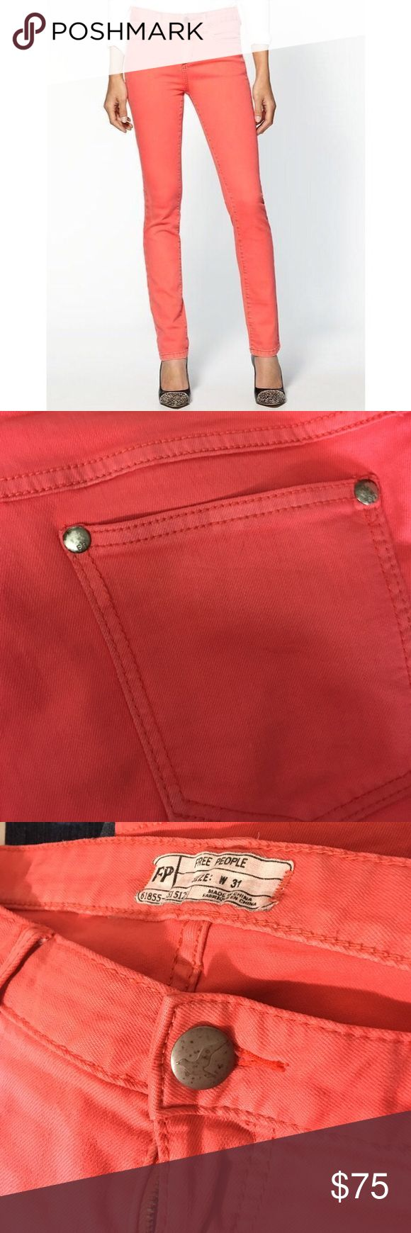 Free People High Rise Coral Skinny Jeans Great condition besides wear on grommets. Pretty coral color. 👗Fab Ab's Closet; Re-Styled Resale 👗 🎀15% OFF 3+ ITEM BUNDLES🎀 👉🏻PLEASE USE OFFER BUTTON👈🏻 ❌NO PP, TRADES, HOLDS❌  🛍ITEMS ALWAYS 100% AUTHENTIC🛍 👑POSH AMBASSADOR 👑 Free People Jeans Skinny