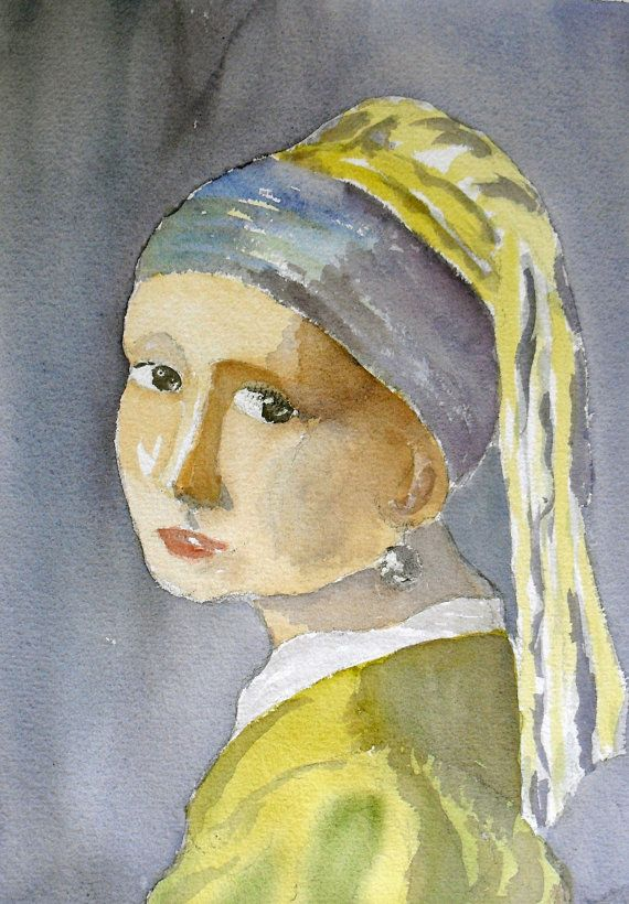 Original Painting after Vermeer Girl with a by JulianLovegroveArt, £30.00