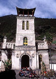A Roman Catholic church by the Lancang (Mekong) River at Cizhong, Yunnan Province, China. It was built by the French missionary at the mid-19th century, but was incinerated during the anti-foreigner movement in 1905, and rebuilt Ca. 1920s. The church members are mainly Tibetans. Since the region is very ethnically diverse, they also consist of six other ethnic groups such as Han, Naxi, Lisu, Yi, Bai and Hui