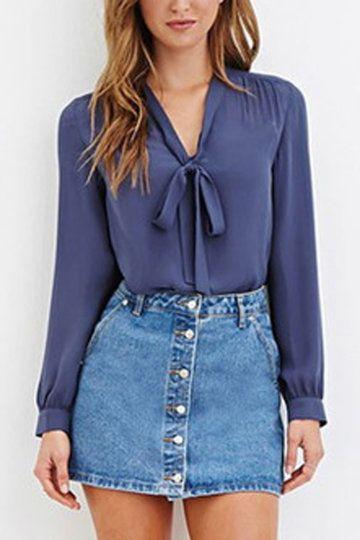 See-through Pleats Royal Blue Straps Front Shirt - US$15.95 -YOINS