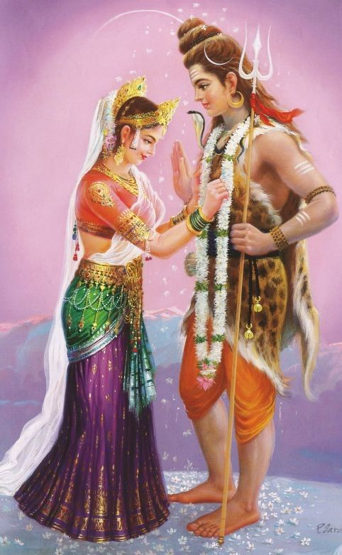 Lord Shiva Accepting Sri Parvati Daughter Of The Himalayas In Vivah Marriage