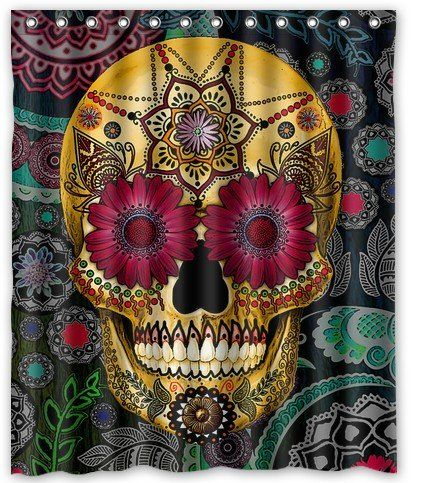 Funny Fashion Flowers Sugar Skull Waterproof Bathroom Fabric Shower CurtainBathroom Decor 48 X