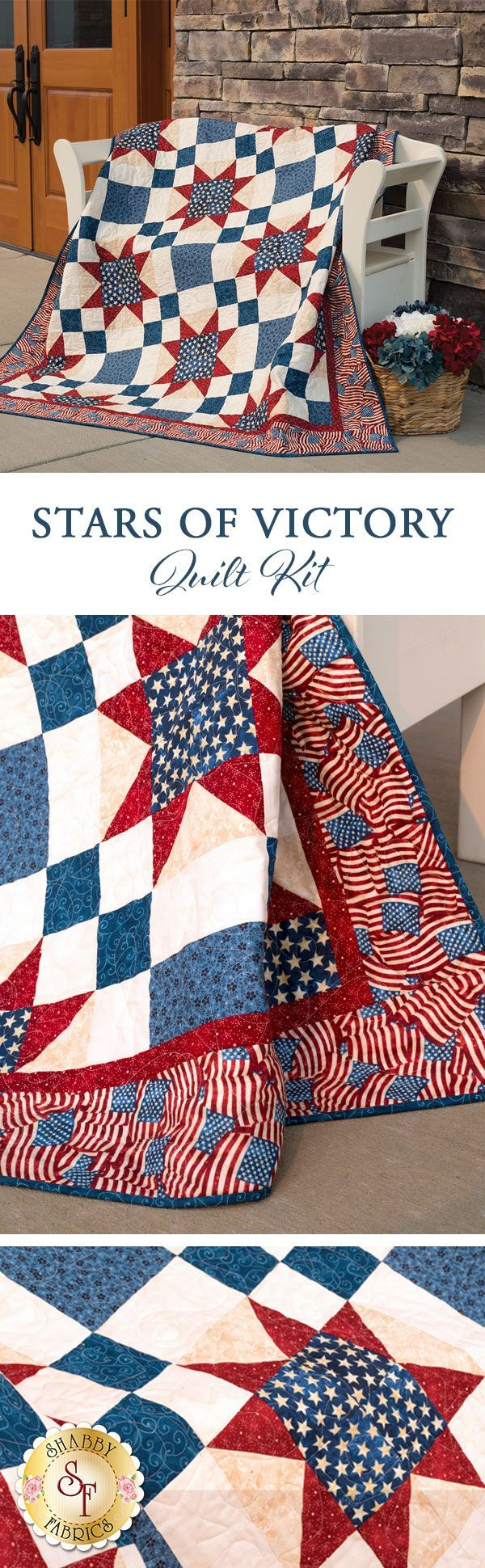 """Stars of Victory Quilt Add a stunning americana touch to your home with this striking quilt, or better yet create a beautiful tribute to honor a service member with this wonderful, patriotic keepsake. This Shabby Exclusive quilt is made using simple piecing, and features a beautiful American flag border. Finished size measures approximately 59½"""" x 71½"""" and meets the Standards of Excellence for the Quilts of Valor Foundation®️️ to be an official Quilt of Valor®️️."""