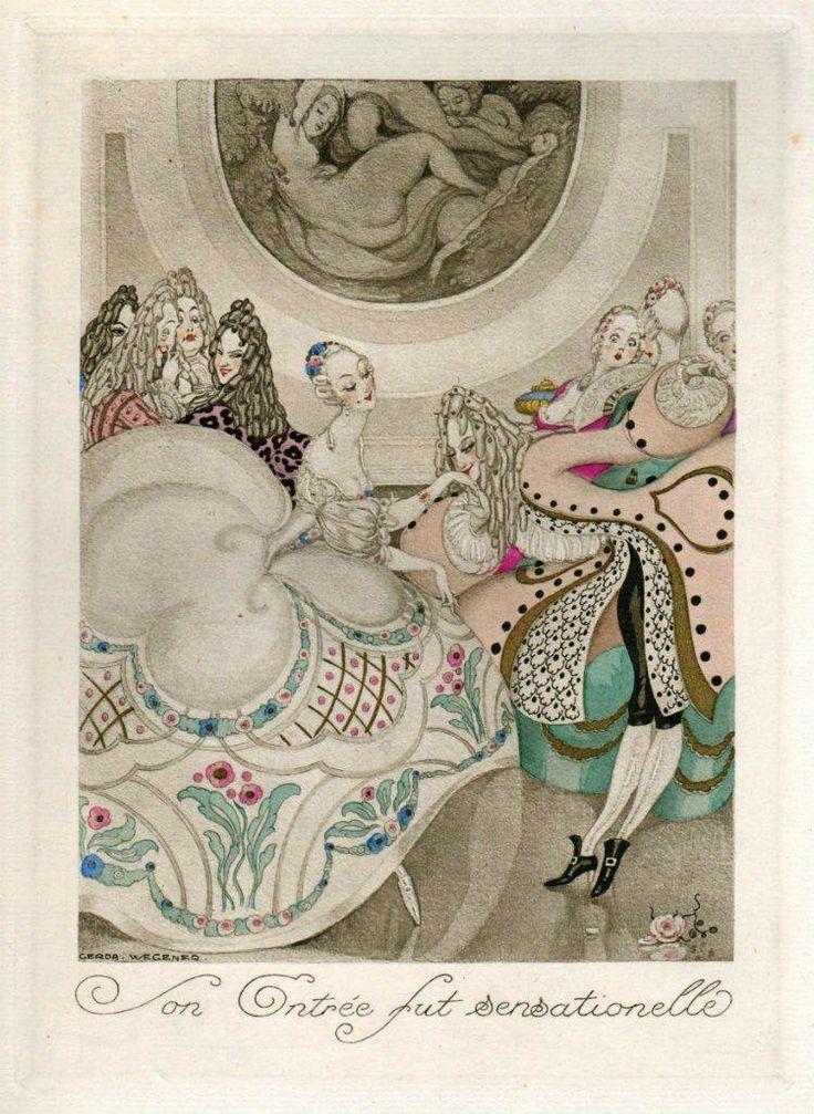 Gerda Wegener (Danish illustrator and painter) 1886 - 1940 aka Gerda Gottlieb Wegener Porta Sur Talons Rouges, 1929 'Son Entree fut Sensationelle' (The Entry was Sensational)