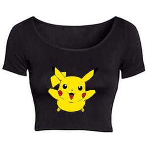 Pikachu Pokemon Black Crop Top Festival Emo Hipster Kawaii