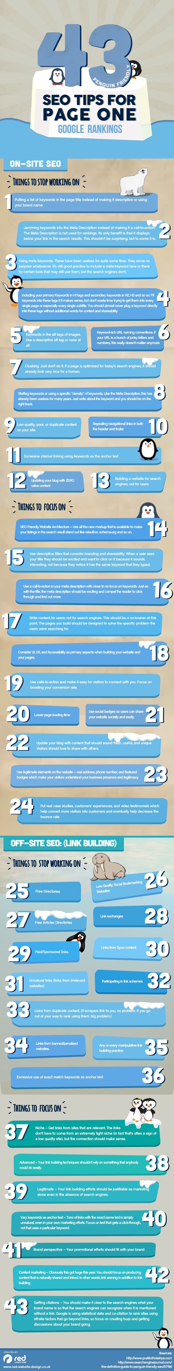 43 Penguin Friendly SEO Tips for Page One Google Rankings [#infographic] #searchmarketing #webdev