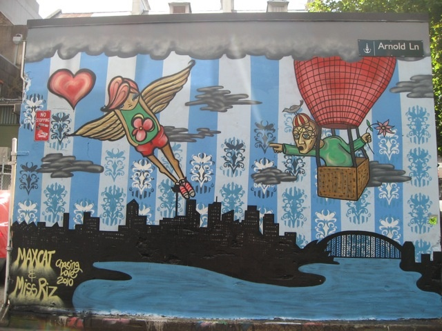 Surry Hills is full of incredible Street art.. Check out this blog.  http://darlinghurstnights.com/tag/surry-hills/