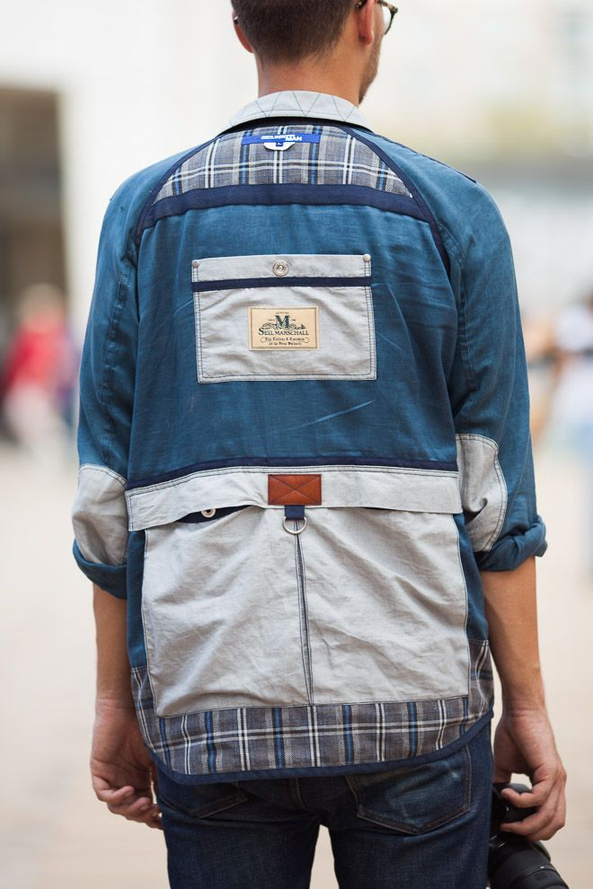Dj8: this is a mens  shirt by Junya Watanabe x Seil Marschall. It looks like it can be transformed into a backpack! If not, as a shirt itself it looks really intricate and that's the style I like. I want to attempt a transformable shirt some day!