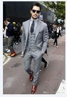 Mens Light Grey Suits Jacket Pants Formal Dress Men Suit Set men wedding suits groom tuxedos(jacket+pants+vest+tie)) - On Trends Avenue