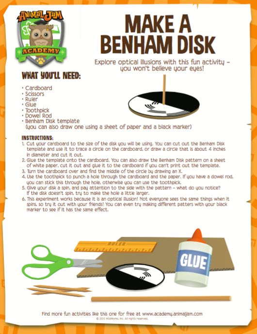 Optical Illusions Are Amazing Make Your Own Benham Disk