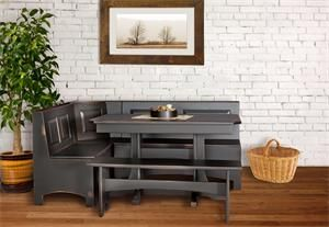 Love this for the breakfast nook, but I can DIY this with padded seats and backs. Add to my kitchen redo.
