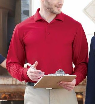 Big Mens Pinnacle 100% Performance Long Sleeve Pique Polo by North End