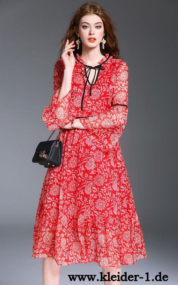 Elegantes Midi Sommerkleid in Rot mit Blumen