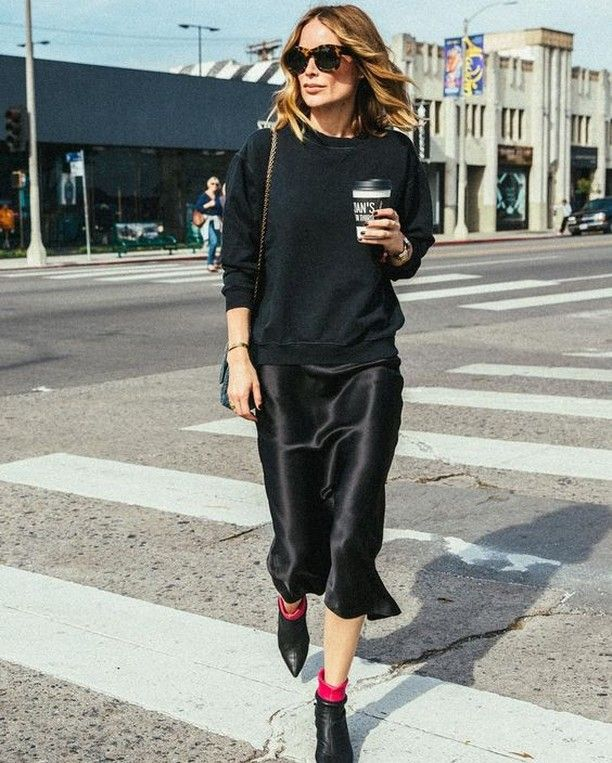 Black sweater + slip dress + ankle boots (With images) | Slip ...