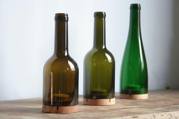 Windlichter aus Weinflaschen. #upcycling #DIY