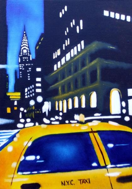 N.Y.C. Taxi by Andrea Tyrimos -- posted on London's DegreeArt. Cool way to invest in new artists