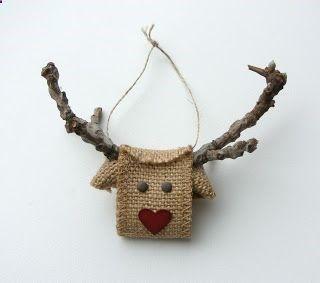 Reindeer made from Burlap Ribbon