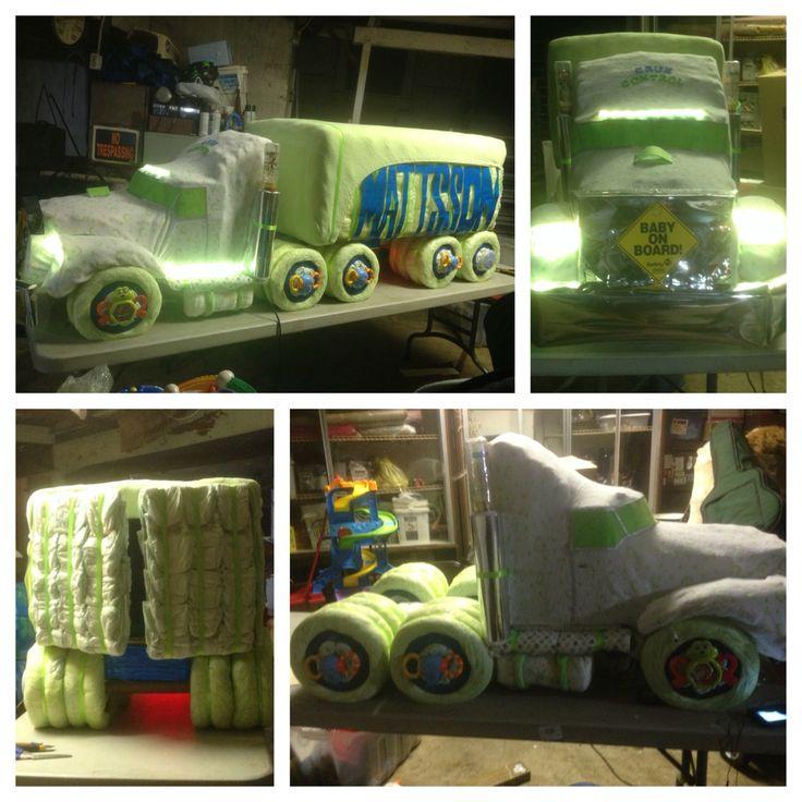 Semi truck diaper cake