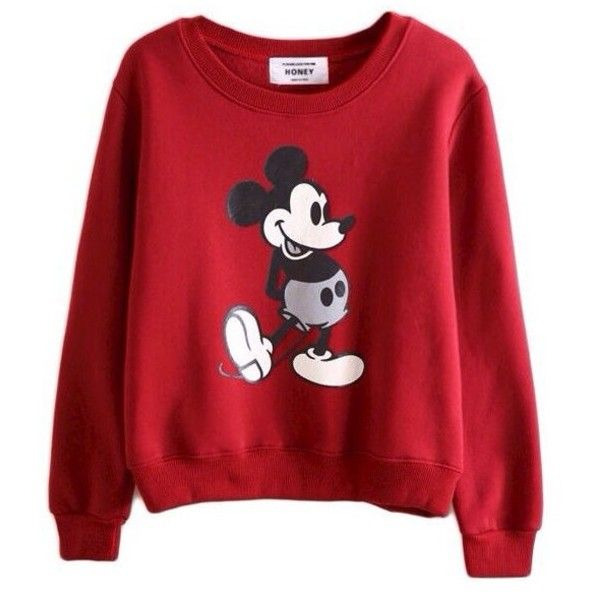 Sweater: mickey mouse sweatshirt red long sleeves ❤ liked on Polyvore featuring tops, hoodies, sweatshirts, sweaters, shirts, red, red mickey mouse shirt, sweat tops, extra long sleeve shirts and mickey mouse shirt