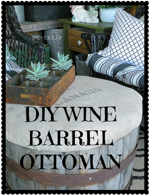 DIY wine barrel ottoman