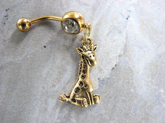 Gold Baby Giraffe Belly Button Rings Cute Belly Rings Baby