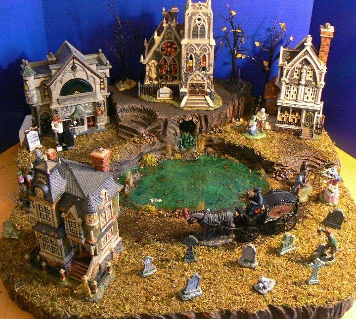 dept 56 halloween village displays halloween village creepy lake - Miniature Halloween Decorations